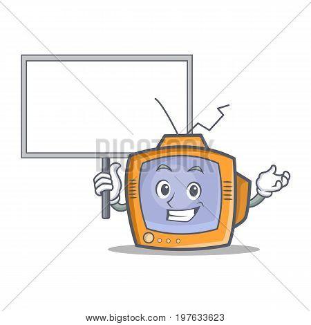 Bring board TV character cartoon object vector illustration