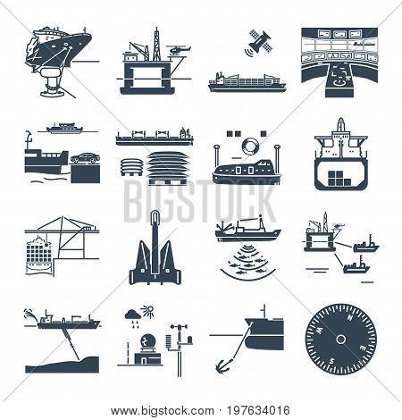 set of black icons water transport and sea port oil platform dry cargo ship bulk carrier