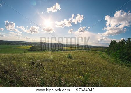Summer sunny landscape in the meadow for a fisheye