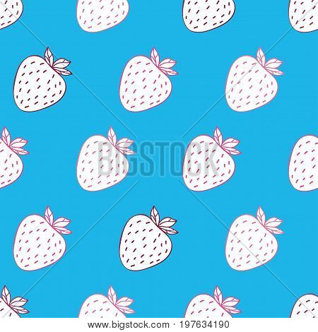 Trendy youthful seamless pattern  with funny white strawberries on light blue background. Can be used in your project or printing.