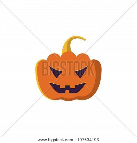 Halloween pumpkin Icon Isolated on White Background.Halloween pumpkin with scary face. Design element for Halloween. Vector illustration in flat style for your design.