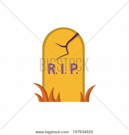 Grave icon isolated on white background. Headstone, RIP image. Design element for Halloween. Vector illustration in flat style for your design.