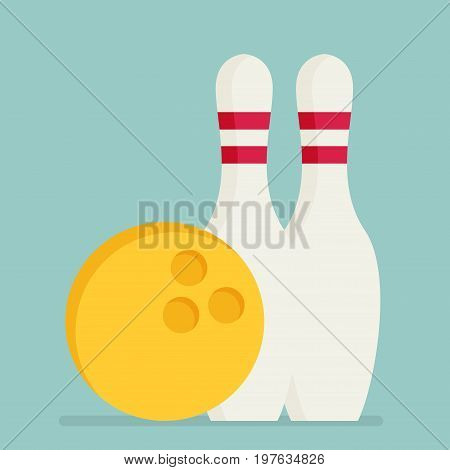 Bowling Ball And Pins Isolated On Background