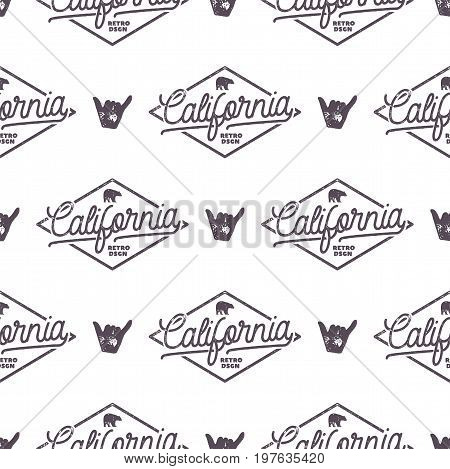 California Surfing monochrome seamless pattern with shaka sign and typography elements. Wilderness wallpaper design. White isolated background. For web design, t shirts, wrapping paper. Stock vector.