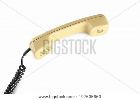 Beige Telephone Handset Isolated On A White