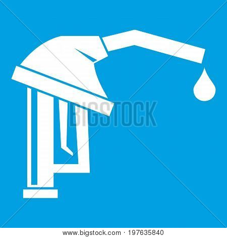 Gasoline pump nozzle icon white isolated on blue background vector illustration