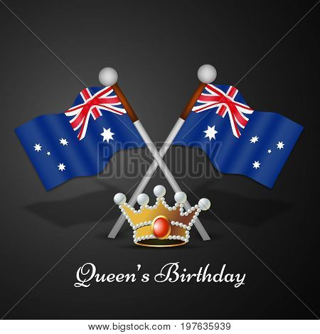illustration of Australia Flag and crown with Queen's Birthday text on the occasion of Queen's Birthday