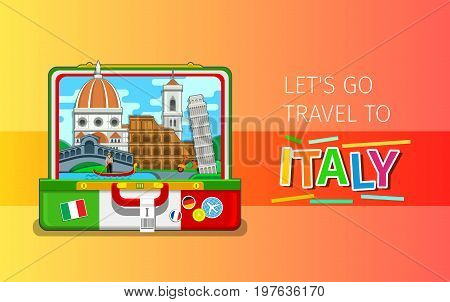 Concept of travel to Italy or studying Italian. Italian landmarks in open suitcase. Flat design, vector illustration