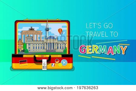 Concept of travel to Germany or studying German. German landmarks in open suitcase. Flat design, vector illustration