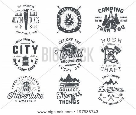 Vintage hand drawn travel badge and emblem set. Hiking labels. Outdoor adventure inspirational logos. Typography retro style. Motivational quotes for prints, t shirts. Stock vector design.