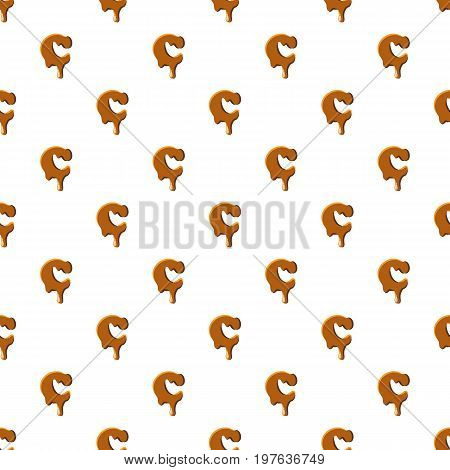 Letter C from caramel pattern seamless repeat in cartoon style vector illustration