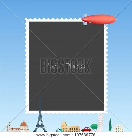 Photo frame collage with cartoon background with Eiffel tower, zeppelin vector illustration. Easy way to make funny photo collage