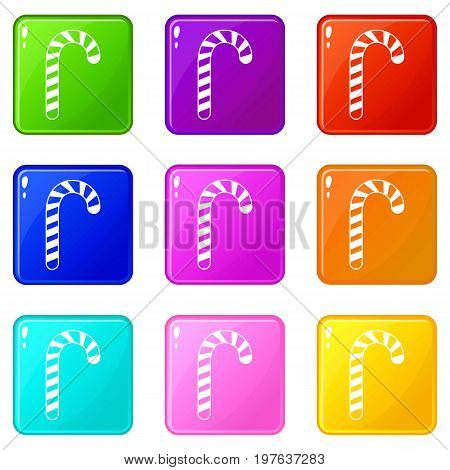 Candy cane icons of 9 color set isolated vector illustration