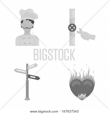 pain, kitchen, profession and other  icon in monochrome style., fire, love, desire icons in set collection