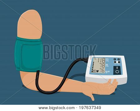 Hand which is measuring blood pressure on blue background