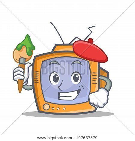 Artist TV character cartoon object vector illustration