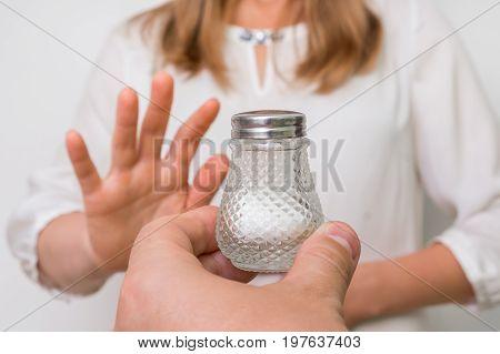 Woman Refusing Salt Using Gesture Stop