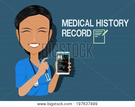 Medical staff show medical history record on blue background
