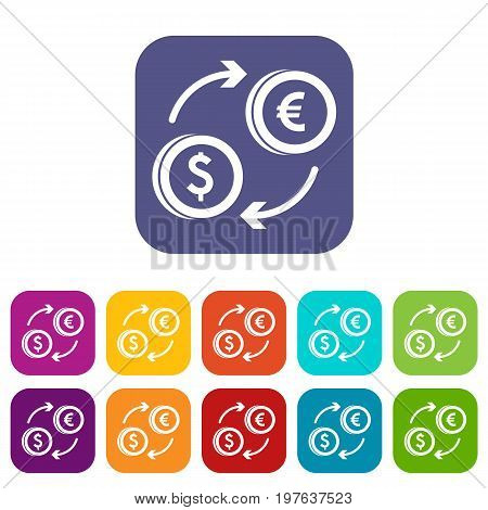 Euro dollar euro exchange icons set vector illustration in flat style in colors red, blue, green, and other