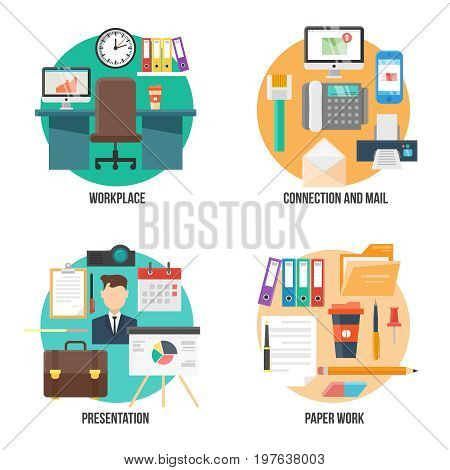 Flat colorful office elements collection with workplace and mail icons business presentation equipment worker stationery folders documents isolated vector illustration