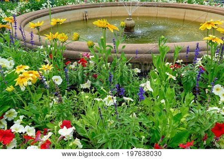 Water Fountain In The Park With Flowers