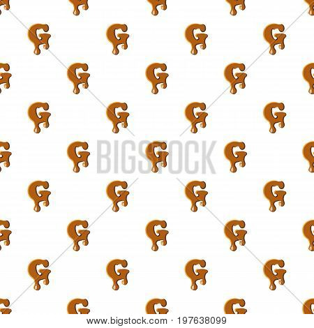 Letter G from caramel pattern seamless repeat in cartoon style vector illustration