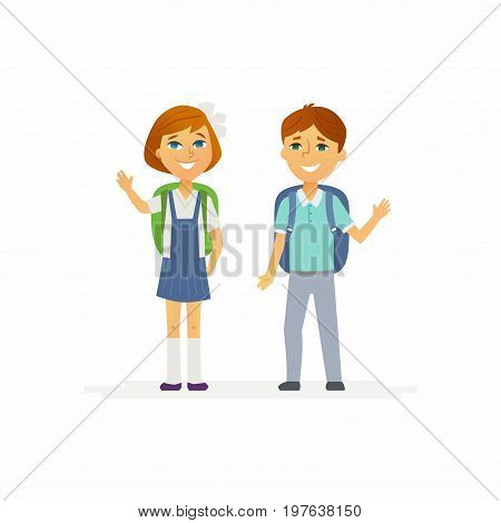 School children - modern vector people characters illustration of happy little boy and girl with backpacks waving hands and smiling. Junior students get ready to learn, study, for a new academic year