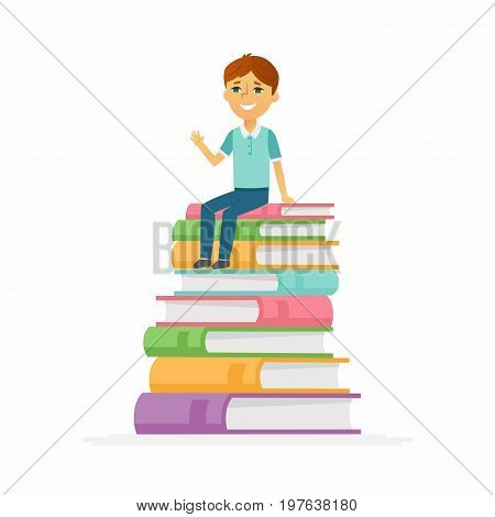 School Boy - modern vector people character illustration of happy child, kid sitting on pile of books, waving hand, smiling. Junior student ready to learn, study, for a new academic year, knowledge