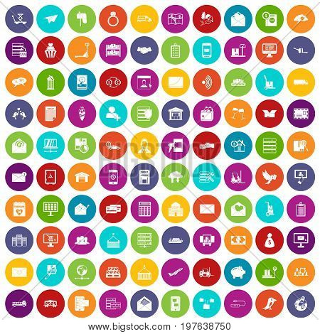 100 postal service icons set in different colors circle isolated vector illustration