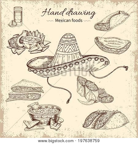 Mexican food hand drawn design with sombrero tortilla soup taco and burrito on grunge background vector illustration