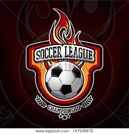 Fiery football colorful logotype with ball for soccer league or championship design in cartoon style vector illustration