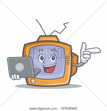 TV character cartoon object with laptop vector illustration