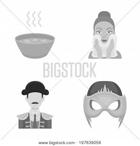 hygiene, nutrition, Tourist and ot icons in set collection.her  icon in monochrome style. Carnival, cinema, entertainment,