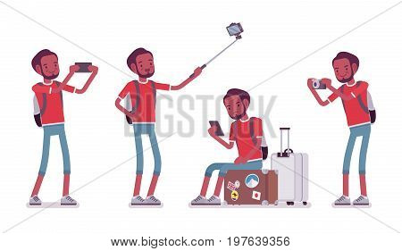 Black male tourist with gadgets. Young man with camera, phone, taking pictures, self-portrait photograph. Travel and tourism concept. Vector flat style cartoon illustration, isolated, white background