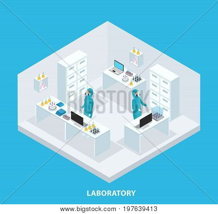 Isometric medical research concept with scientists wearing protective suits working in laboratory isolated vector illustration