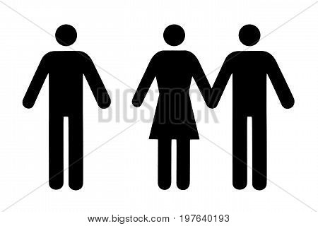 Couple and single icon flat black pictogram isolated on white. Conceptual representation of refusal betrayal choice of a partner.