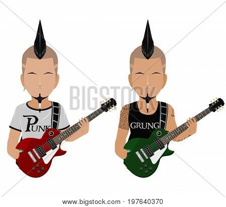 Isolate Punk rock Guitarist on white background