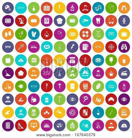 100 profession icons set in different colors circle isolated vector illustration