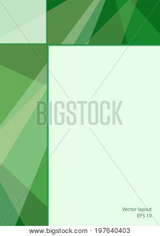 Cover layout technology design. Abstract geometric green background with text place. Modern template for magazines, brochures, leaflets, booklets, prospectuses, portfolio, annual reports, posters, flyers. EPS10 vector illustration, size A4