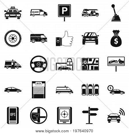 Vehicle icons set. Simple set of 25 vehicle icons for web isolated on white background