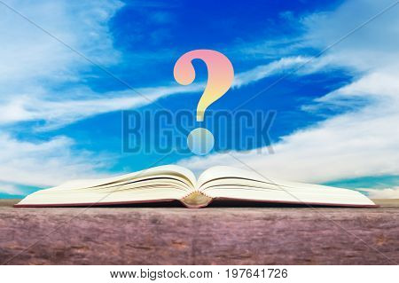 Book with question mark for learning , knowledge and problem solving concept.