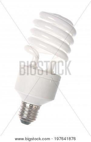 Eco lamp isolated on white background .