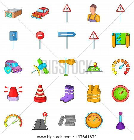Motor vehicle icons set. Cartoon set of 25 motor vehicle icons for web isolated on white background