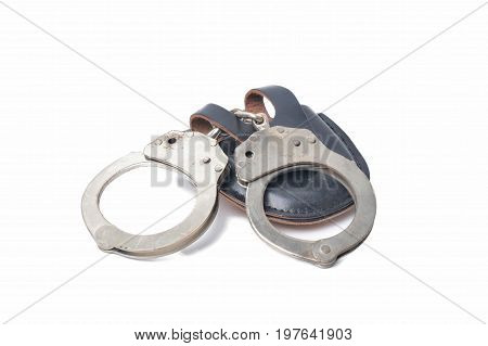A picture of handcuffs isolated in white background