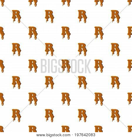Letter R from caramel pattern seamless repeat in cartoon style vector illustration
