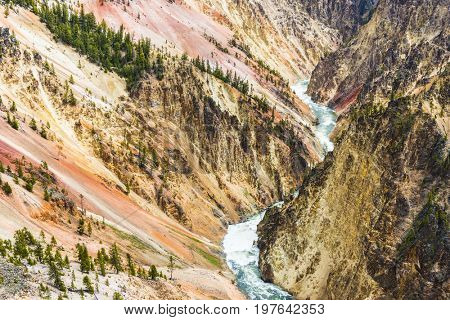View at a vivid Grand Canyon of the Yellowstone and Yellowstone river seen from Artist Point. Yellowstone National Park, Wyoming, USA