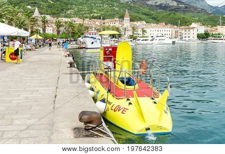 Boat for diving under water - JUNE 1: Boat for swimming under water. It is in the port of Makarska, June 1, 2017. Croatia.