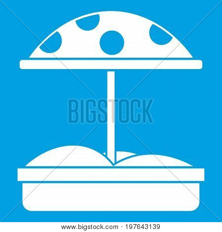 Sandbox with dotted umbrella icon white isolated on blue background vector illustration