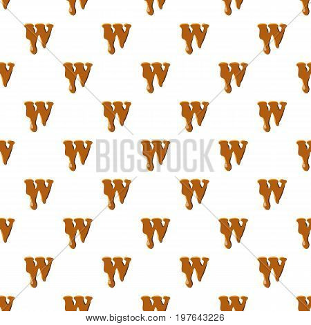 Letter W from caramel pattern seamless repeat in cartoon style vector illustration