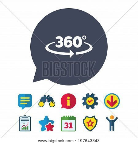 Angle 360 degrees sign icon. Geometry math symbol. Full rotation. Information, Report and Speech bubble signs. Binoculars, Service and Download, Stars icons. Vector
